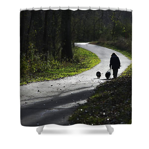 Woman And Border Collies Shower Curtain