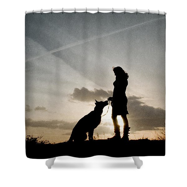 Woman And Dog  Shower Curtain