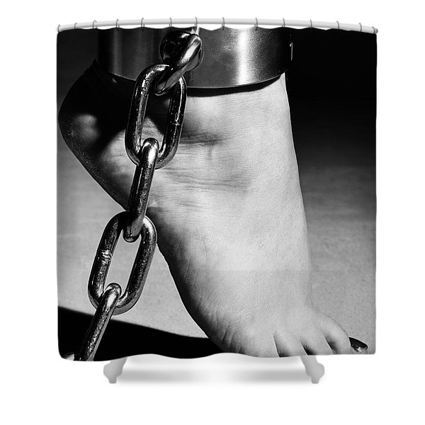 Woman Barefoot In Steel Cuffes Shower Curtain