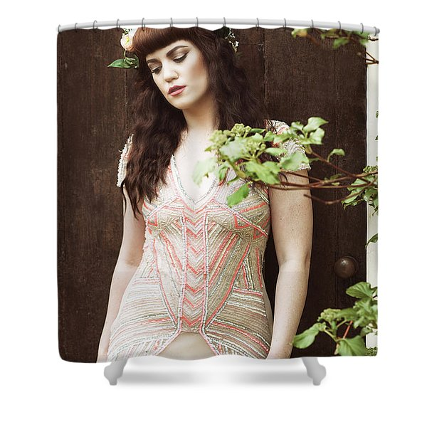 Woman By Doorway Shower Curtain