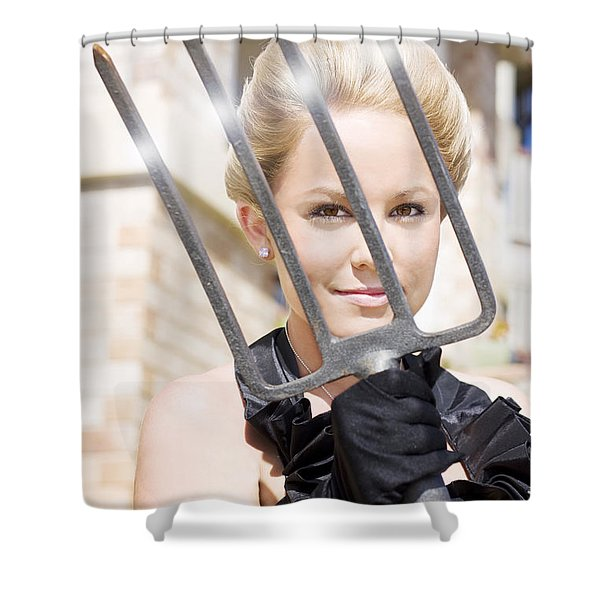 Woman Giving The Garden Forks Shower Curtain