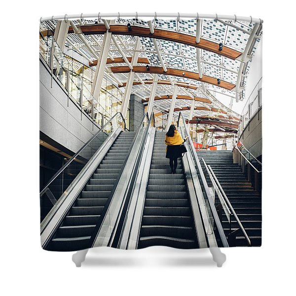 Woman Going Up Escalator In Milan, Italy Shower Curtain