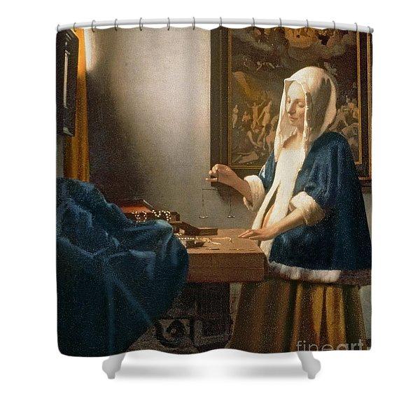 Woman Holding A Balance Shower Curtain
