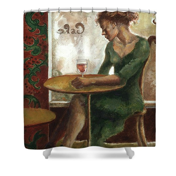 Woman In A Paris Cafe Shower Curtain