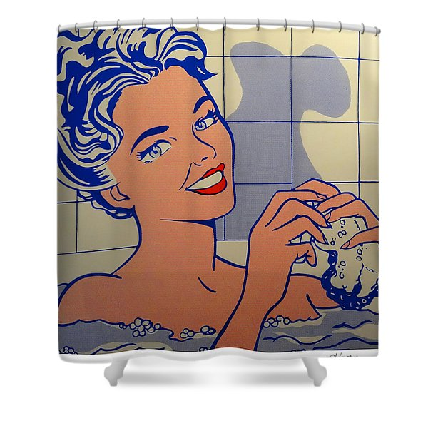 Woman In Bath Shower Curtain