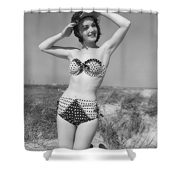 Woman In Bikini, C.1950s Shower Curtain