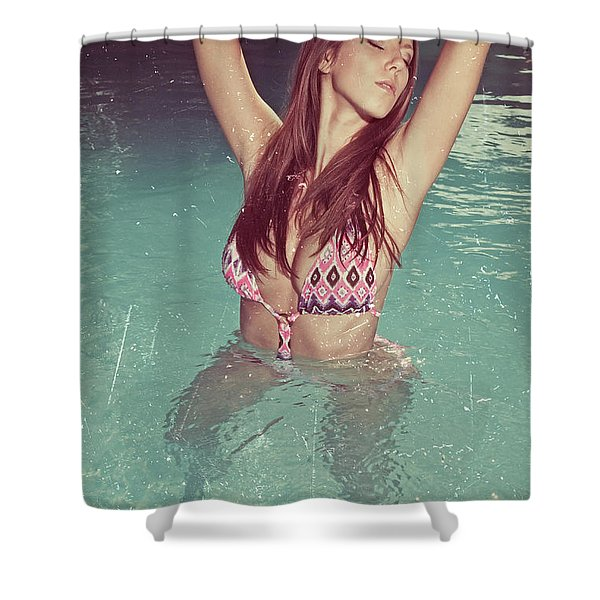 Woman In Bikini In The Water And Retro Look Image Finish Shower Curtain