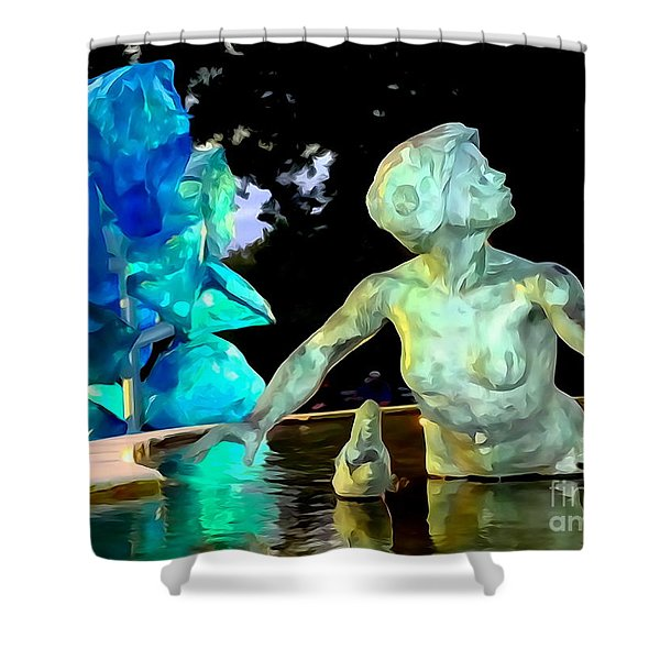 Woman In Fountain Shower Curtain