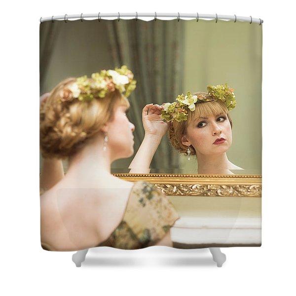 Woman In Mirror Shower Curtain