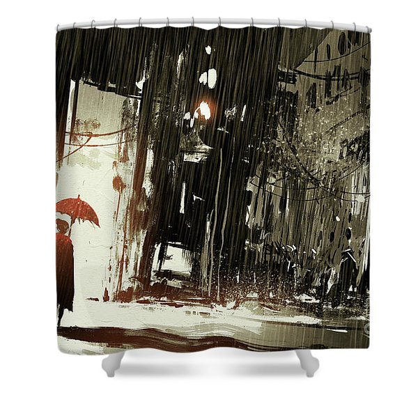 Shower Curtain featuring the painting Woman In The Destroyed City by Tithi Luadthong