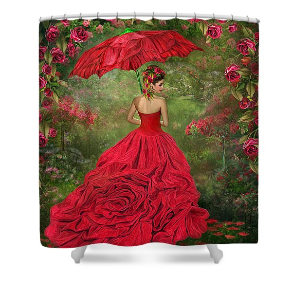Woman In The Rose Gown Shower Curtain