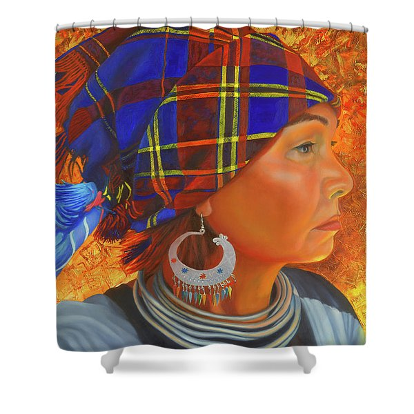 Woman In The Shadow Shower Curtain