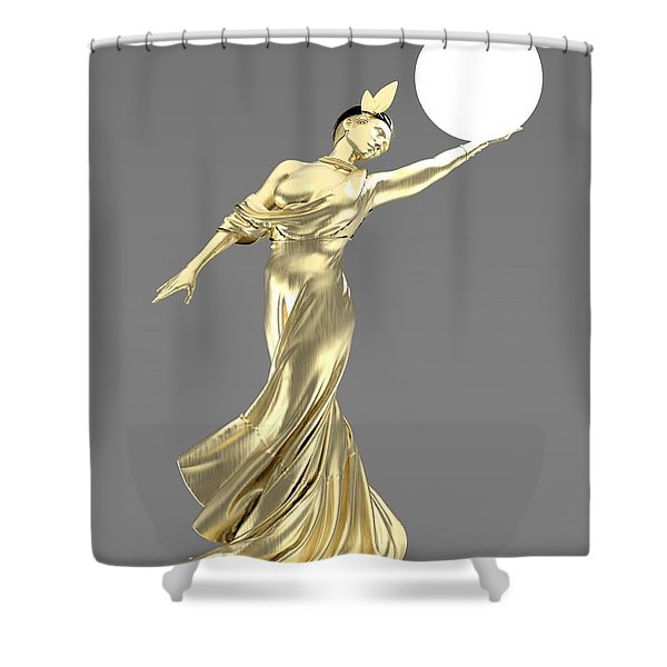 Woman Lamp Modernist Style Shower Curtain