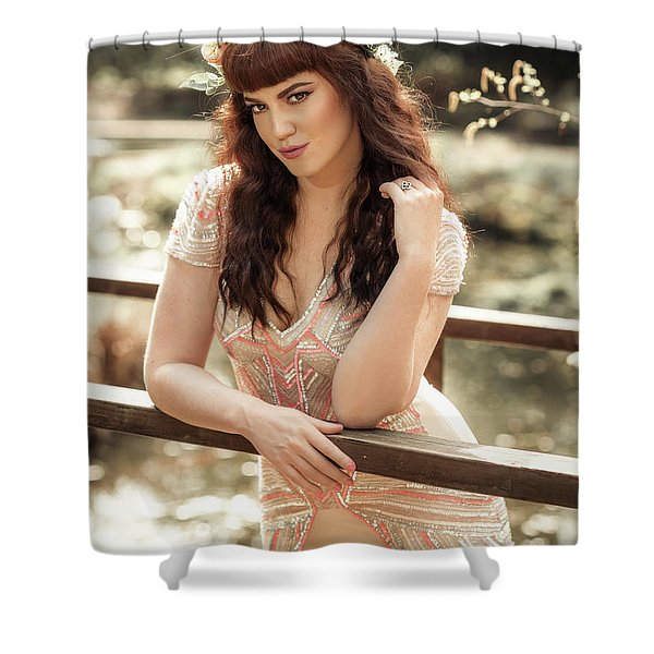 Woman Leaning On Rail Shower Curtain