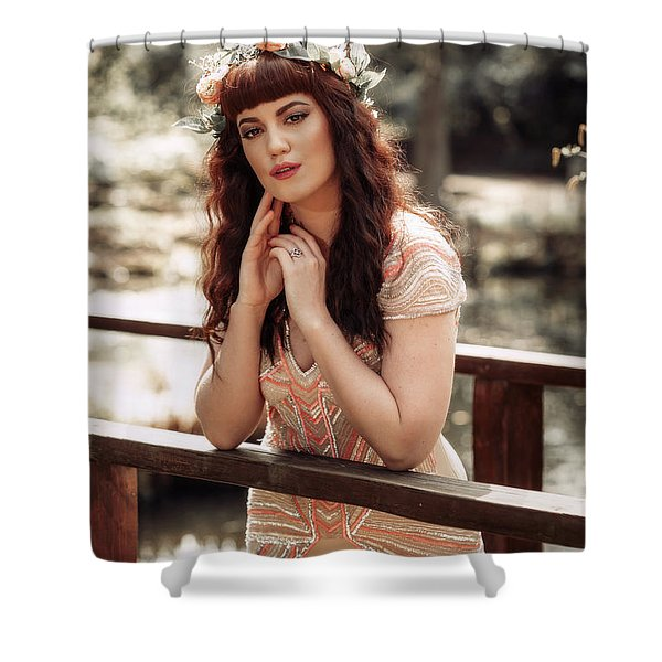 Woman Leaning On Rail Of Wooden Bridge Shower Curtain