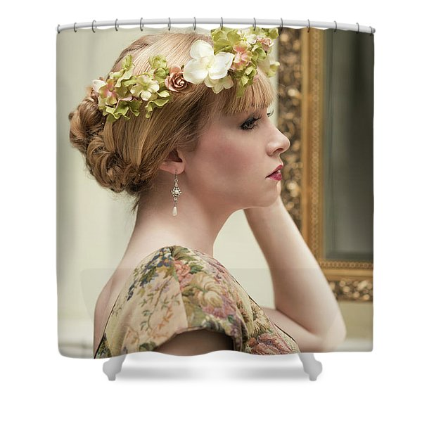 Woman Looking In Mirror Shower Curtain