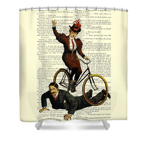 Woman On Bicycle Riding Over Man Shower Curtain