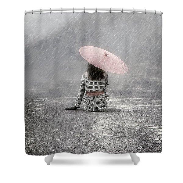 Woman On The Street Shower Curtain by Joana Kruse
