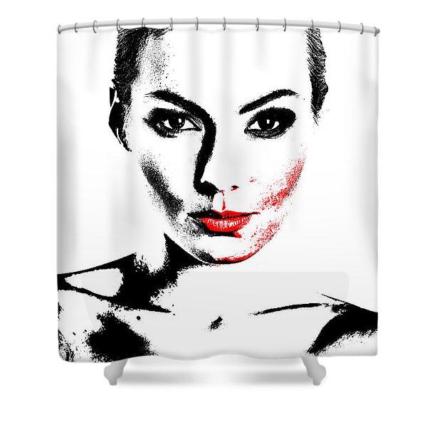 Woman Portrait In Art Look Shower Curtain