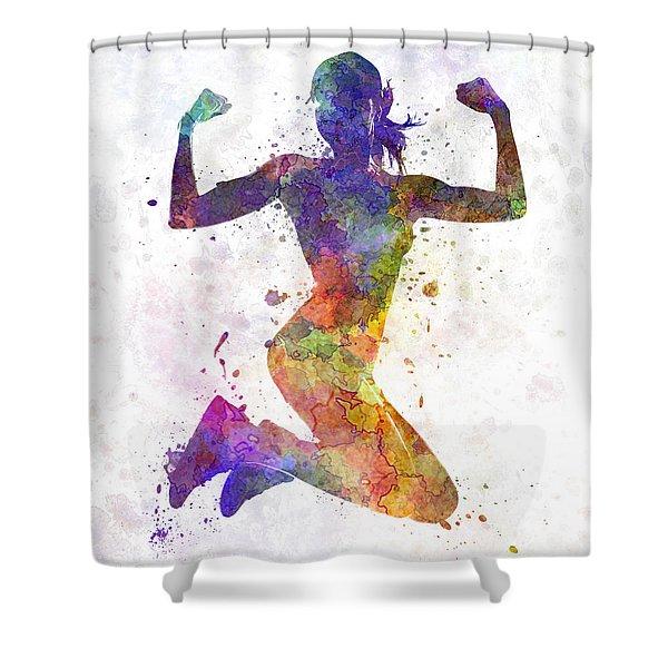 Woman Runner Jogger Jumping Powerful Shower Curtain