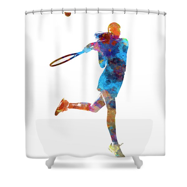 Woman Tennis Player 03 In Watercolor Shower Curtain