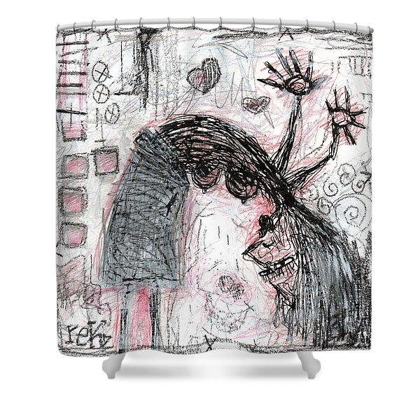 Woman Walking Upside Down Shower Curtain