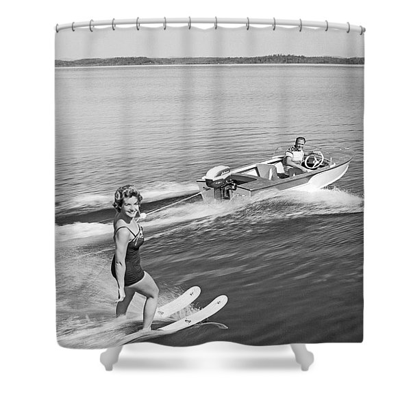 Woman Water Skiing Shower Curtain