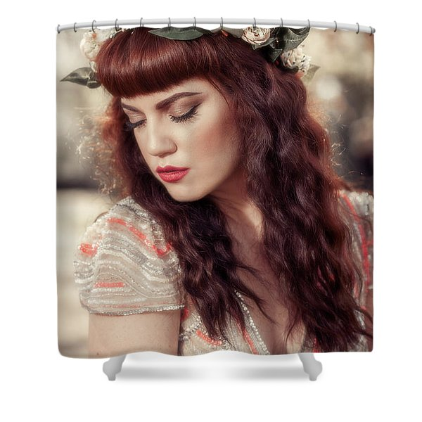 Woman Wearing Floral Crown Shower Curtain