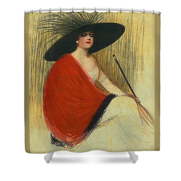 Shower Curtain featuring the digital art Woman Wearing Hat by Robert G Kernodle