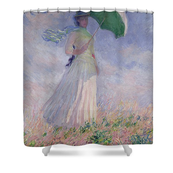 Woman With A Parasol Turned To The Right Shower Curtain