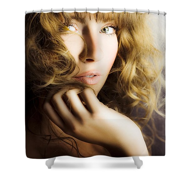 Woman With Beautiful Wavy Hair Shower Curtain