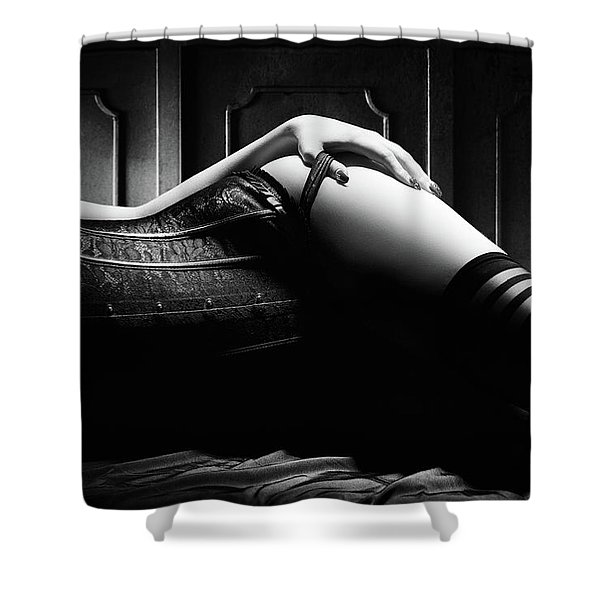 Woman With Black Corset Shower Curtain