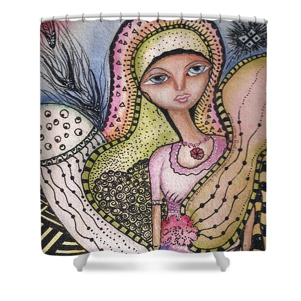 Woman With Large Eyes Shower Curtain