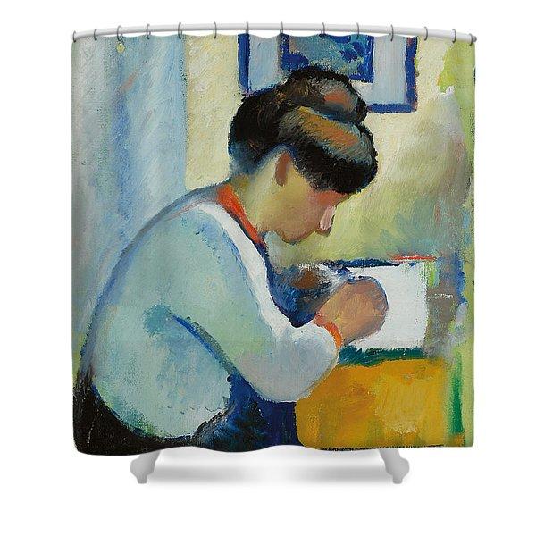 Woman Writing Shower Curtain