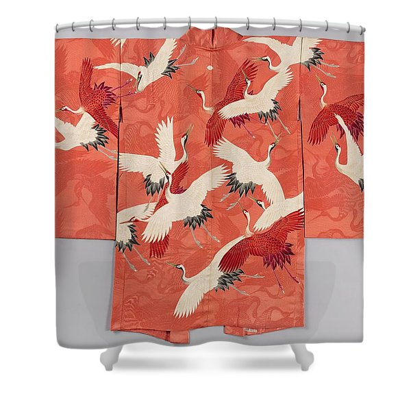 Woman's Haori With White And Red Cranes Shower Curtain