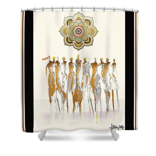 Women Chanting Mandala Shower Curtain