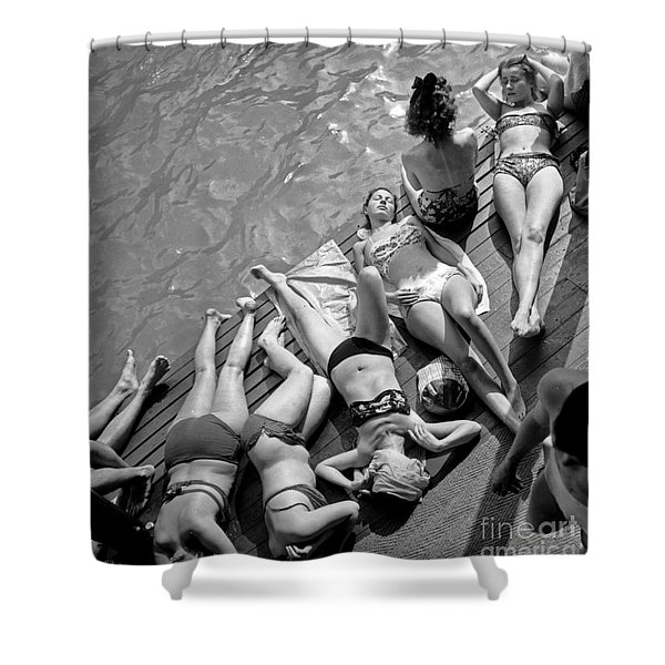Women In Bikini Tanning At Deligny Swimming Pool In Paris, July 1946 Shower Curtain