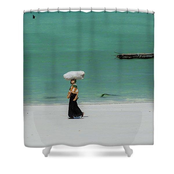 Women Worker Shower Curtain