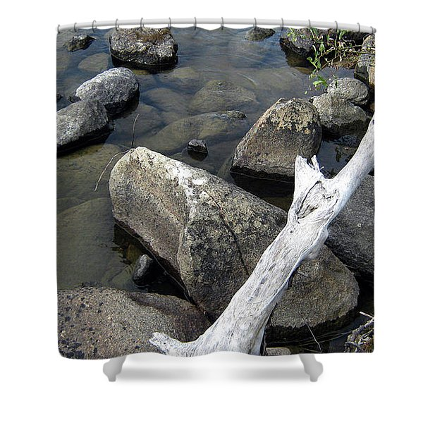 Wood And Rocks In Water Shower Curtain