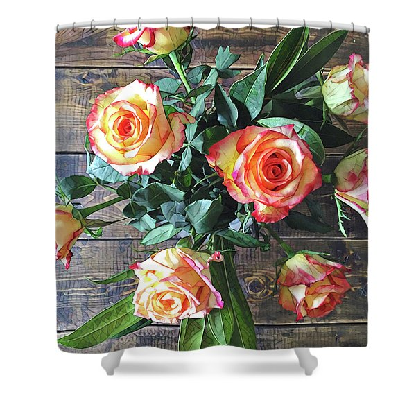Wood And Roses Shower Curtain