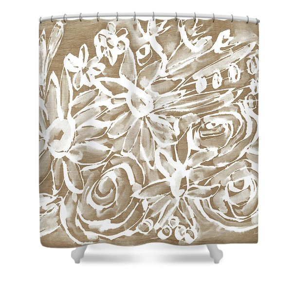 Wood And White Floral- Art By Linda Woods Shower Curtain
