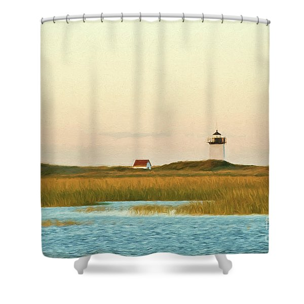 Wood End Lighthouse Shower Curtain