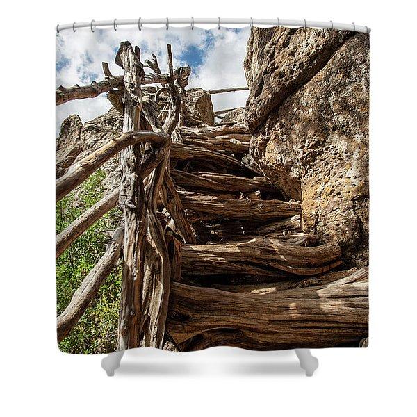 Wooden Ladder Shower Curtain