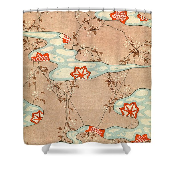 Woodblock Print Of Fall Leaves Shower Curtain