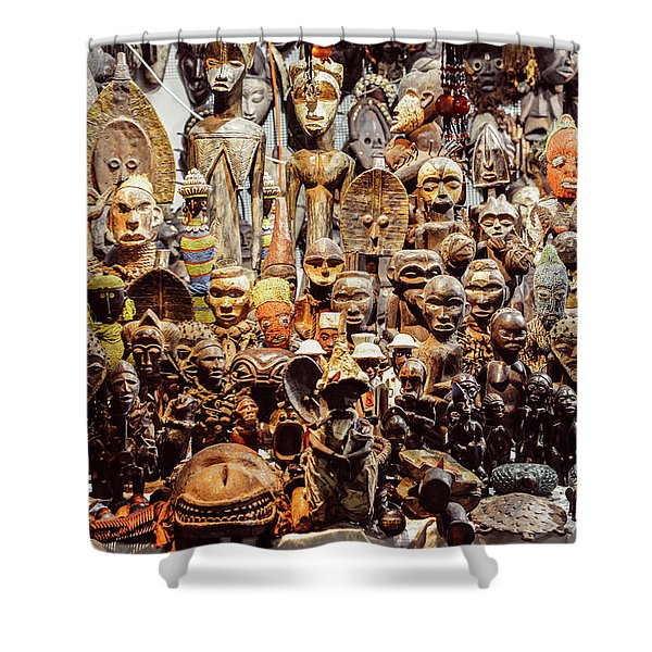 Wooden African Carvings Shower Curtain