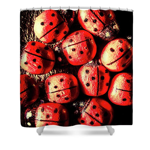 Wooden Beetle Bugs Shower Curtain