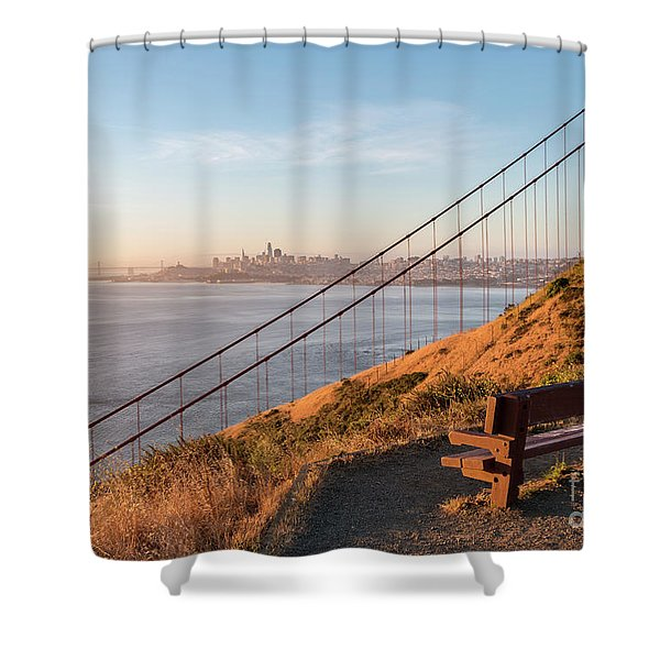 Wooden Bench Overlooking Downtown San Francisco With The Golden  Shower Curtain