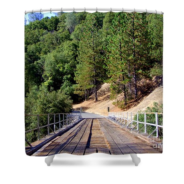 Wooden Bridge Over Deep Gorge Shower Curtain by Mary Deal