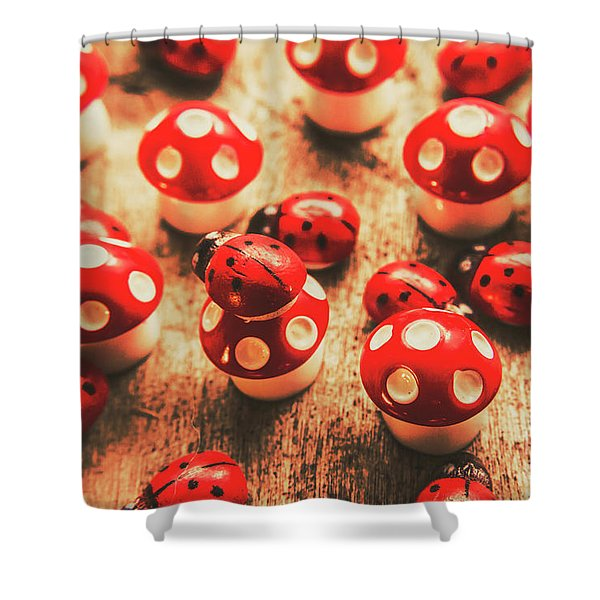 Wooden Bugs And Plastic Toadstools Shower Curtain