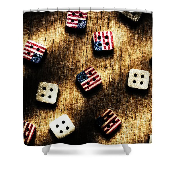 Wooden Button America Shower Curtain